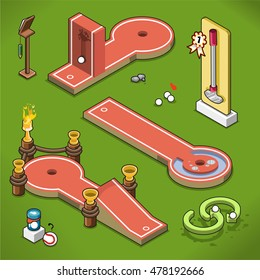 Mini golf courses with wall, water handicap and goblets on a lawn (isometric view)