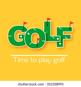Mini golf text vector illustration . Time to play golf