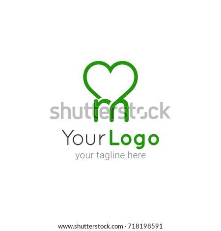 Mini Heart Initial M Logo Template