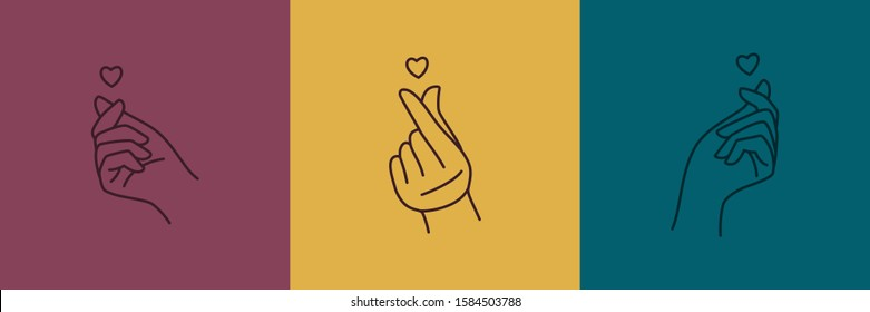 Mini heart Korean love symbol icon set. Vector Illustration of a woman's hand with a heart in a minimalist linear trend style. Concept for logo, printing on t-shirt, poster, Valentine's day card