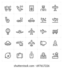 Mini Icon set – airplane and airport icon vector illustration