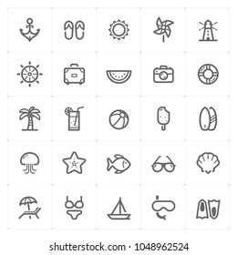 Mini Icon set - Beach icon vector illustration on white background