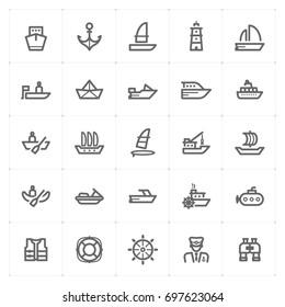 Mini Icon set – boat and ship icon vector illustration
