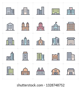 Mini Icon set - Building full color icon vector illustration