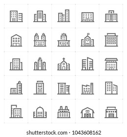 Mini Icon set - Building icon vector illustration