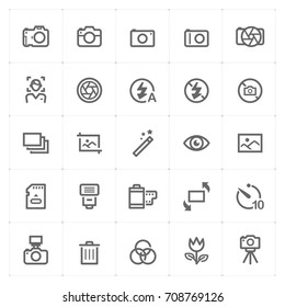Mini Icon set – camera icon vector illustration