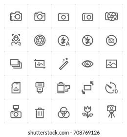 Mini Icon set – camera icon vector illustration