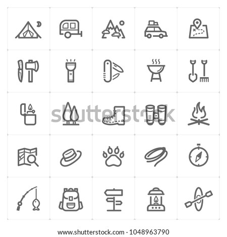 Mini Icon set - Camping icon vector illustration on white background