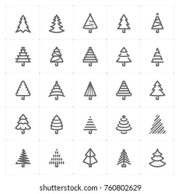 Mini Icon set – Christmas tree icon vector illustration