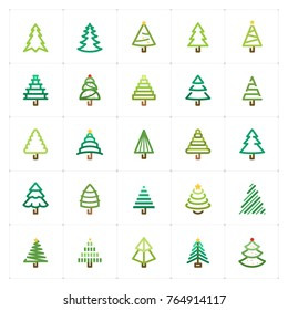 Mini Icon set – Christmas tree color  icon vector illustration. Design for new year and Christmas celebration