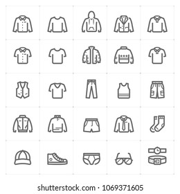 Mini Icon set – Clothing Man icon vector illustration bold line style