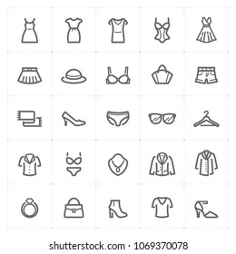 Mini Icon set – Clothing Woman icon vector illustration bold line style