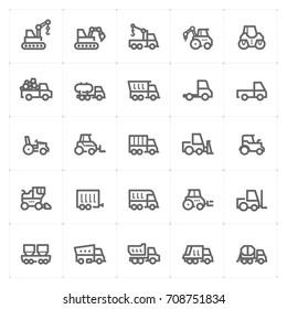 Mini Icon set - construction machine icon vector illustration