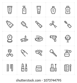 Mini Icon set - Cosmetic icon vector illustration bold line style