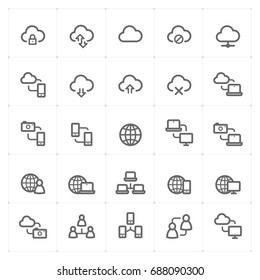 Mini Icon set - data synchronization icon vector illustration