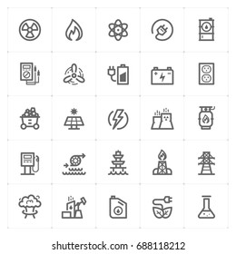 Mini Icon set - energy and power icon vector illustration