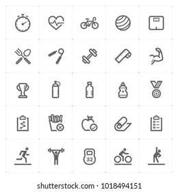 Mini Icon set – Fitness icon vector illustration