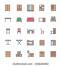 Mini Icon set - Furniture full color icon vector illustration
