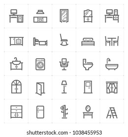 Mini Icon set – Furniture icon vector illustration outline stroke on white background