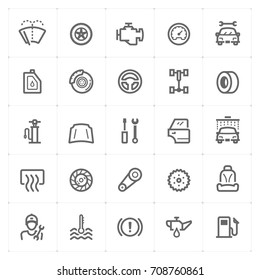 Mini Icon set – garage and auto part icon vector illustration