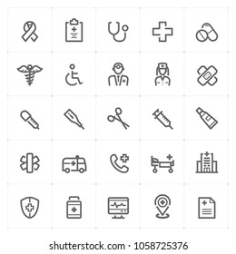 Mini Icon set – Healthcare and Medical icon vector illustration on white background