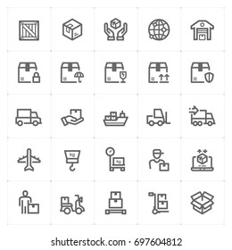 Mini Icon set - logistic and delivery icon vector illustration