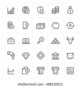 Mini Icon set - money and finance icon vector illustration