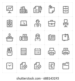 Mini Icon set - Office and stationary icon vector illustration