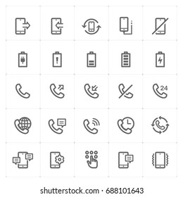 Mini Icon set - phone and calling icon vector illustration