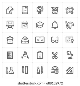 Mini Icon set - school and education icon vector illustration