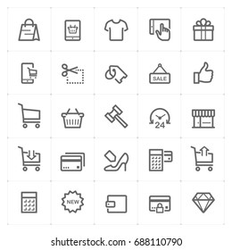 Mini Icon set - shopping and commerce icon vector illustration