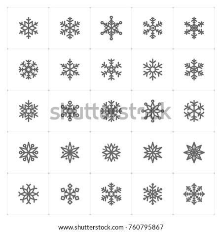 Mini Icon set – snowflake icon vector illustration. Design for new year and Christmas celebretion