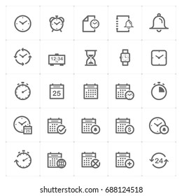 Mini Icon set - time and schedule icon vector illustration