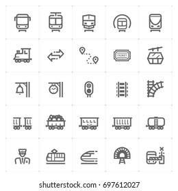 Mini Icon set – train and transport icon vector illustration
