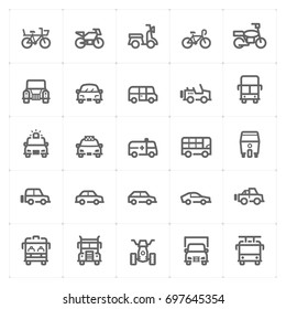 Mini Icon set – vehicle and transport icon vector illustration