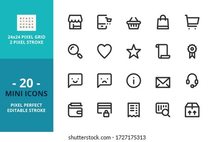 Mini line icons about shopping. Contains such icons as store, shopping cart, e-commerce, payment methods, customer feedback, contact and shipping. Editable stroke. Vector - 24 pixel perfect grid.