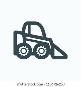 Mini loader icon, mini wheel loader vector icon