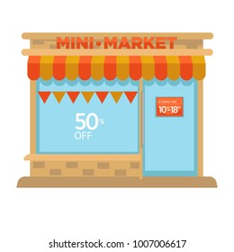 Mini market shop booth facade building of grocery store vector flat design isolated icon
