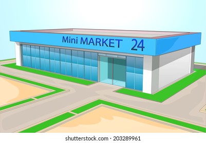 The mini market shop facade retail trade.