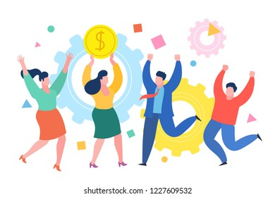 Mini people business concept. Successful businessman celebrates success with colleagues. Business concept of success, achievement, wealth. Flat design, vector illustration.