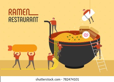 mini people character and giant japan noodle ramen restaurant poster concept vector illustration flat design