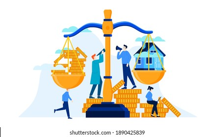mini people saving money to balance the scale until it is as heavy as a house investment for better future illustration design