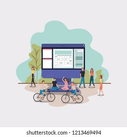 mini people working in computer desktop