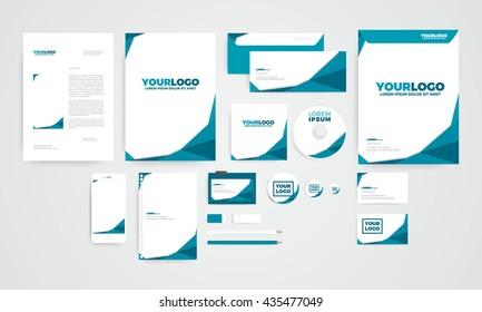 Mini polygon corporate identity template design concept of business