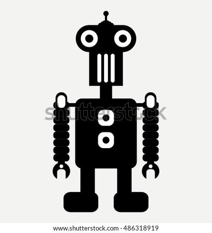Mini Retro Robot Flat Design Style Stock Vector Royalty Free