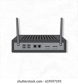 Mini Server with Transmitting Antennas Wireless Fidelity Digital Device Isolated Illustration - Black and Grey Elements on White Rough Paper Background - Vector Technical Colored Sketch Graphic Design