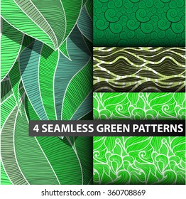mini set 4 simple seamless green pattern