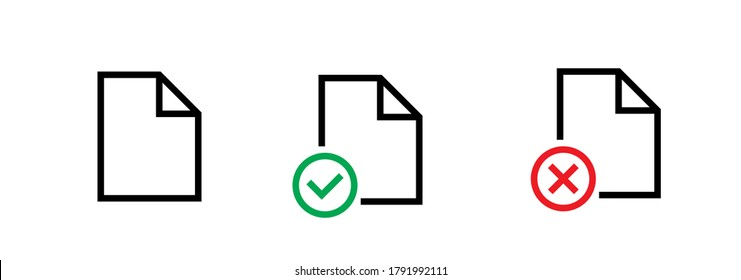 Mini set flat badges documents. Editable vector stroke. Concept different buttons doc for ui. Linear icons file, doc done, doc error isolated on white.