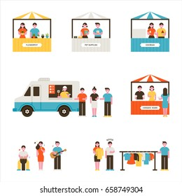 mini store Flea market vector illustration flat design