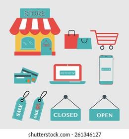 Mini Store and Shopping Icon set.